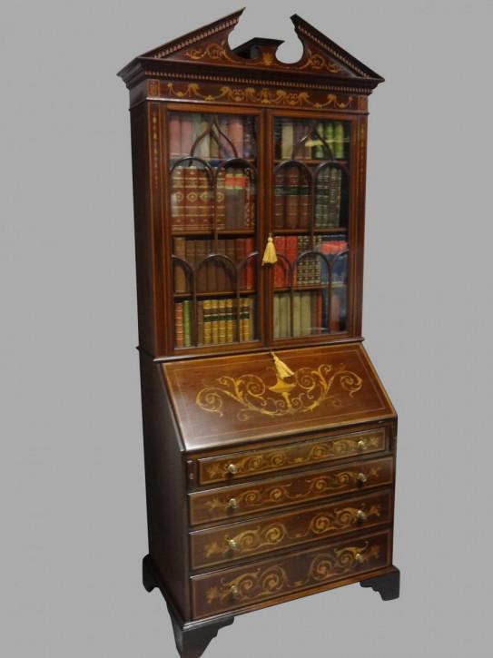 Besonderer großer Bücherschrank Sekretär Mahagoni Massivholzschrank Antik ca. 1900