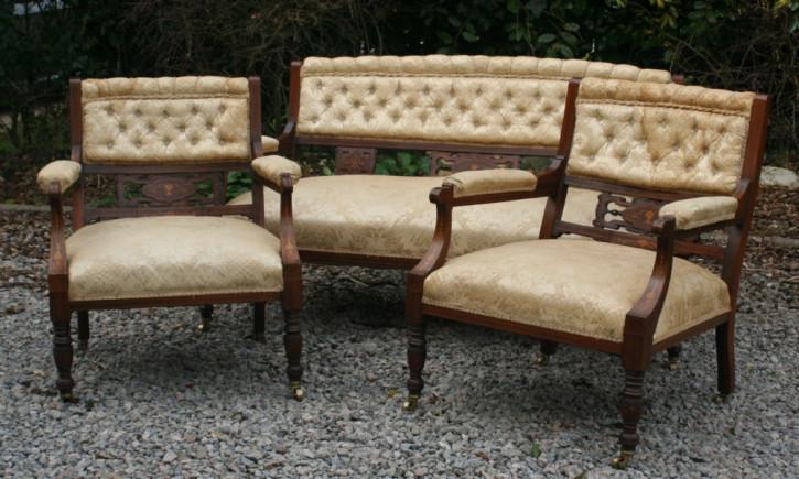 Salon Garnitur Sofa mit zwei Stühlen antik Palisanderholzmöbel edwardianisch