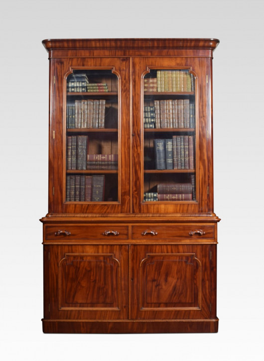Bücherschrank aus Mahagoni mit zwei Türen