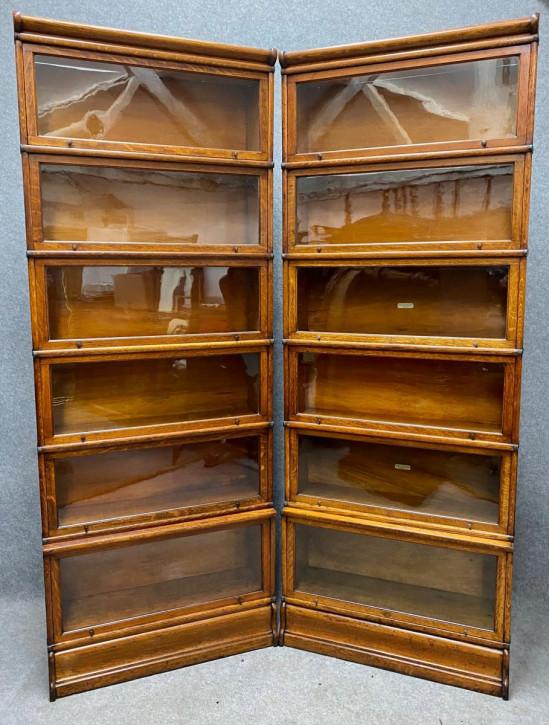 GlobeWernicke Paar Eiche Bücherregale Massivholz antik ca 1920
