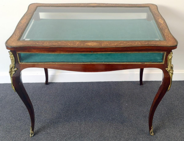 Palisander Vitrinen Tisch Massivholz antik ca 19. Jahrhundert