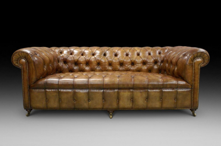 viktorianisches Chesterfield Ledersofa