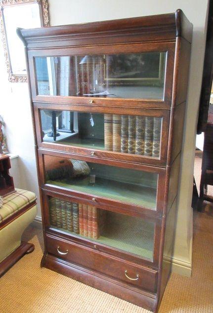 antikes Globe Wernicke Eichenbücherregal, vierstufig edwardianischer Stil