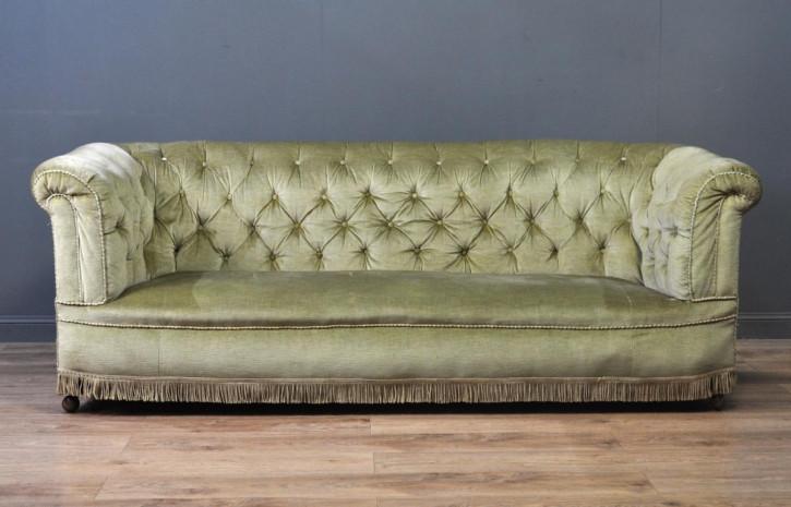 viktorianisches antikes gepolstertes Chesterfield Sofa, samtgrün