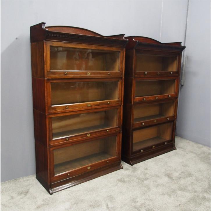 Zwei Buchen Bücherschränke Massivholz antik ca 1910