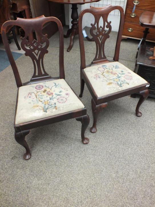 Paar Stühle georgianisch Mahagoni Massivholzstühle