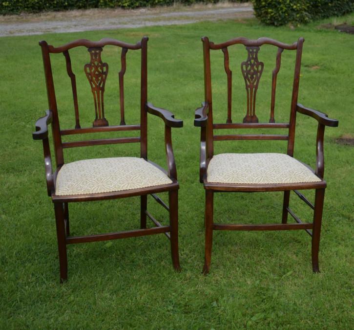 Englisches Paar antiker Stühle Mahagoni Massivholzstühle ca. 1910