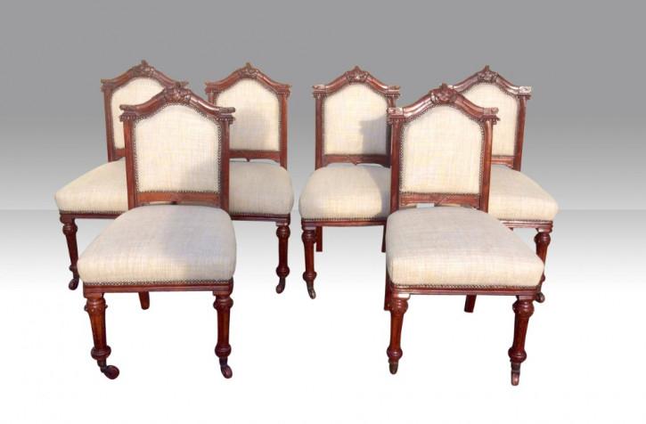 Satz von sechs antiken Mahagoni Stühlen Massivholzstühle ca. 1890