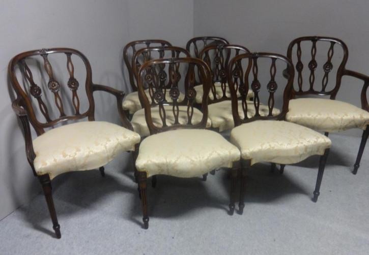 Set/Satz von acht Adams Mahagoni Stühlen Massivholzstühlen antik ca. 1900