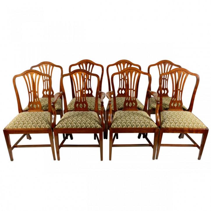 Satz/Set von acht antiken Hepplewhite Stühlen Mahagoni Massivholzstühle ca. 1800