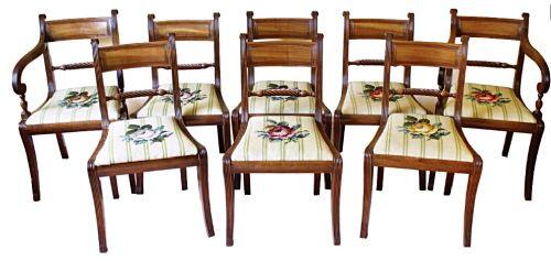 Set 8 Regency Massivholz Stühle antik ca 19. Jahrhundert