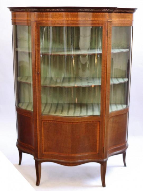 Mahagoni Schlangenholz Vitrine mit Satinholz antik ca. 1880