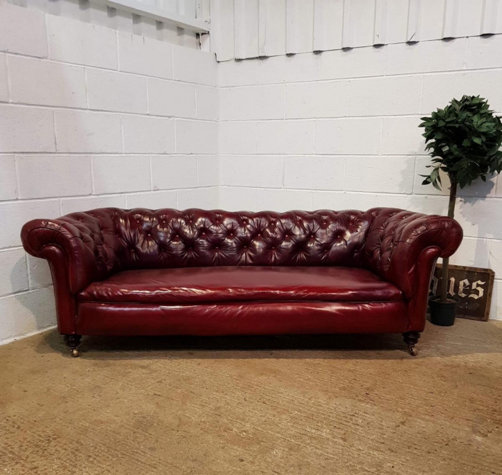Antikes Chesterfield Ledersofa Sofa von Cornelius v. Smith ca. 1890