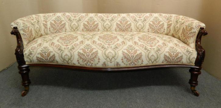 Antikes Mahagoni Sofa Creme Serpentinenform Massivholzsofa ca. 1890