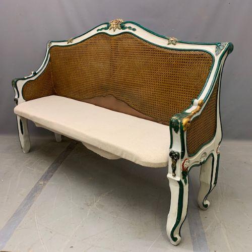 Cane bemalte Zwei Sitzer Sitzbank französisch antik 19. Jahrhundert
