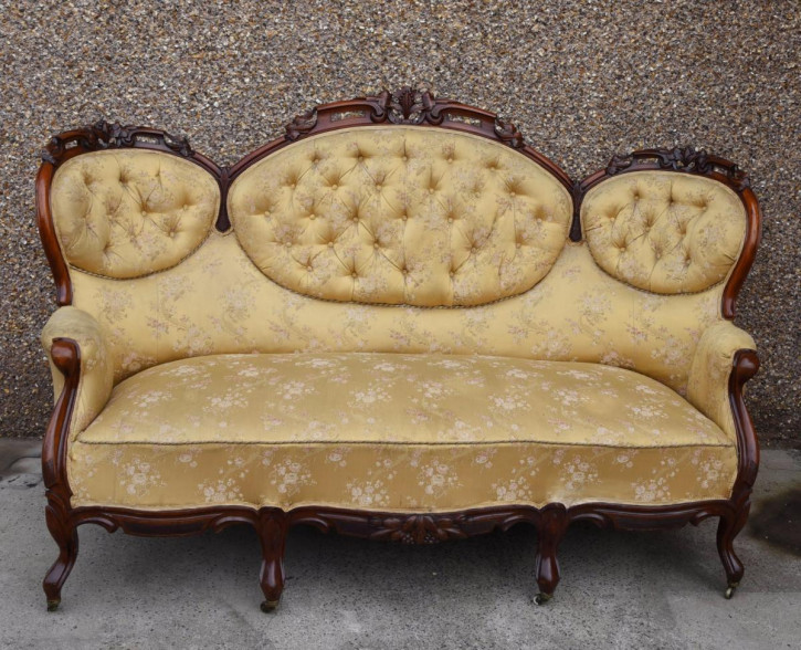Mahagoni geknöpftes Rücklehne Sofa Massivholzsofa antik ca. 1880