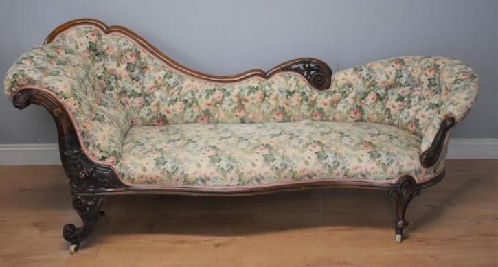 Walnuss Chaise Longue antik florales Muster Stoffbezug ca. 1870