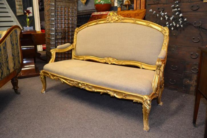Französisches vergoldetes gerahmtes Sofa antik 19. Jahrhundert