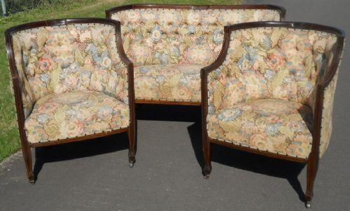 Set dreiteilig Sofa und zwei Sessel Boudoir-Suite aus edwardischem Mahagoni Massivholzmöbel antik ca. 1900
