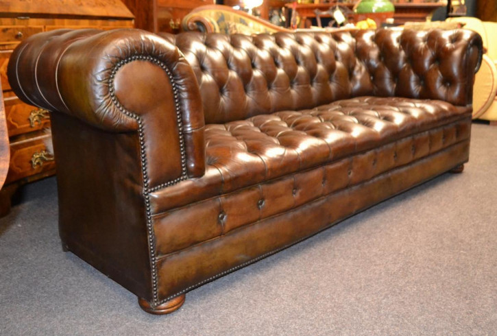 Antikes Chesterfield Sofa Leder Massivholz ca 1930