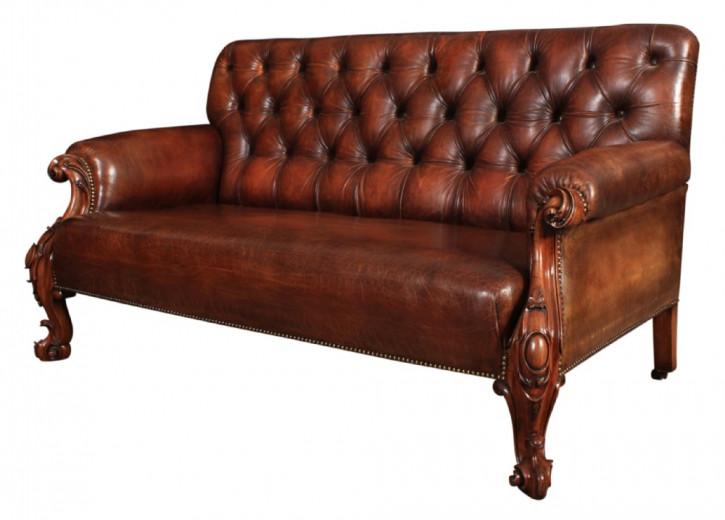 Viktorianisches Mahagoni Chesterfield Sofa Leder antik ca 1860