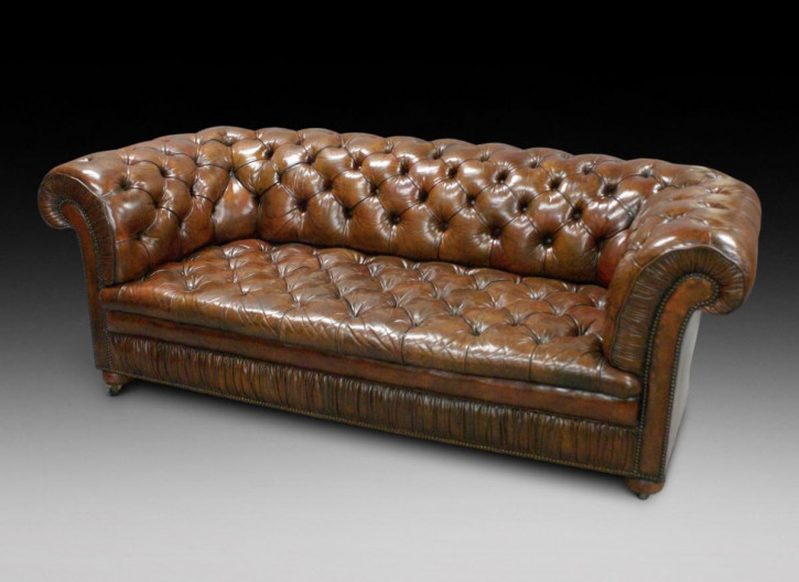 Leder Chesterfield Sofa Massivholz antik ca 1930