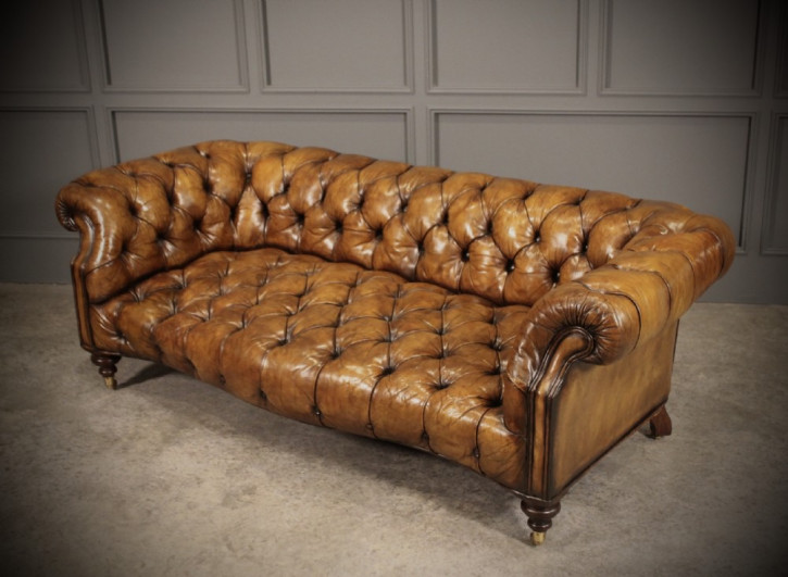 Mahagoni Chesterfield Sofa Leder antik ca 1920