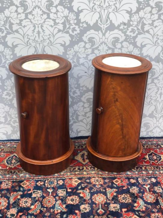 Ein Paar viktorianische Mahagoni Zylinder Nachttische Massivholz antik ca 1880