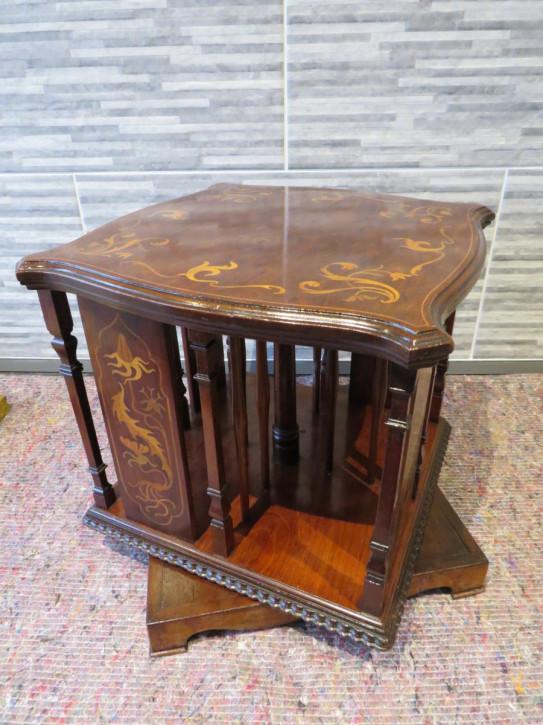 Drehbarer Bücherschrank Satinholz mit Tischplatte und Jugendstil Einfluss, ca. 1910