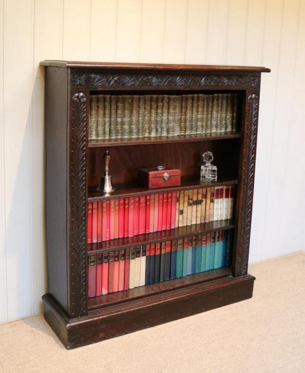 Dunkler offener Bücherschrank Eiche Massivholzschrank antik ca. 1880