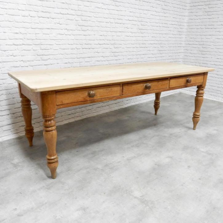 großer antiker viktorianischer Landhaustisch aus dem 19. Jhr.
