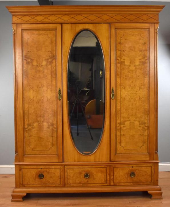 antiker edwardian Pollard Eichenkleiderschrank , Spiegelschrank
