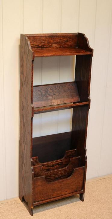 Bücherregal aus Eiche mit Zeitschriftenablage antik ca. 1920