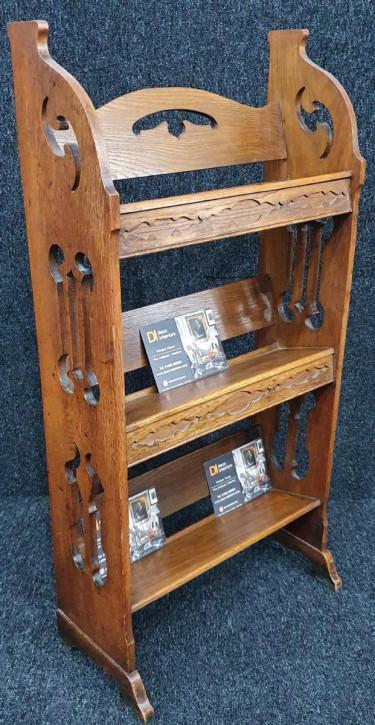Kunsthandwerk Bücherregal aus Eiche freistehend antik ca. 1910