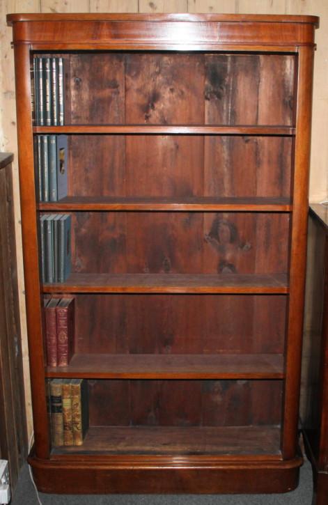 Antikes viktorianisches offenes Bücherregal aus Nussbaumholz