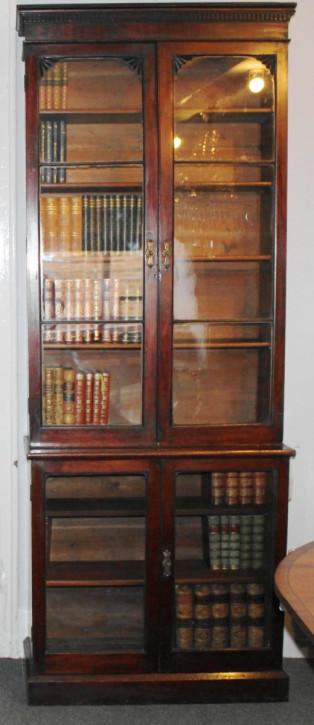 Antikes verglastes Mahagonibücherregal aus aus dem 19. Jahrhundert