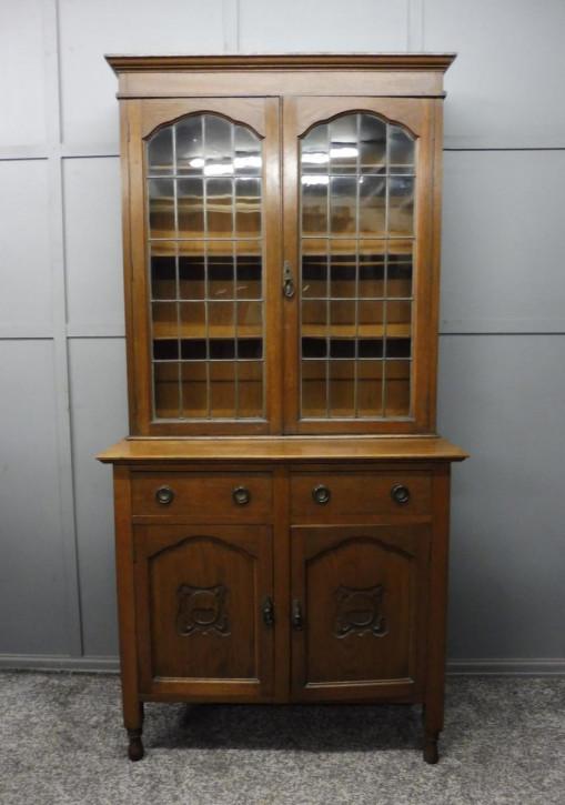 Antiker Arts and Crafts  verglaster Eichenbücherschrank , edwardian bookcase