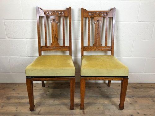Antikes Paar gepolsterter Eichenstühle aus 1920