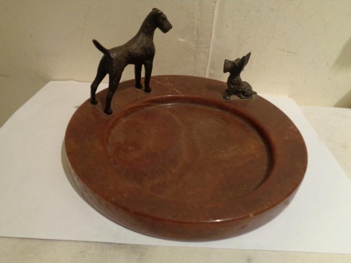 Antikes Marmor Tablett mit Bronzen eines Schnauzers und eines Scottish Terriers, ca. 1920