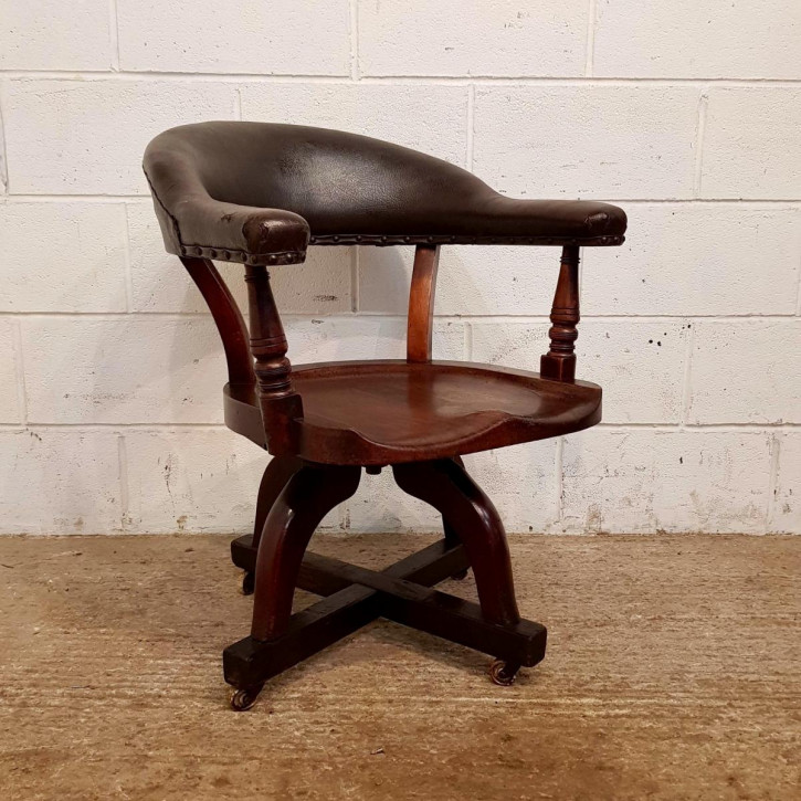 Antike viktorianische Swievel Chair Mahagoni Antikholz c1890