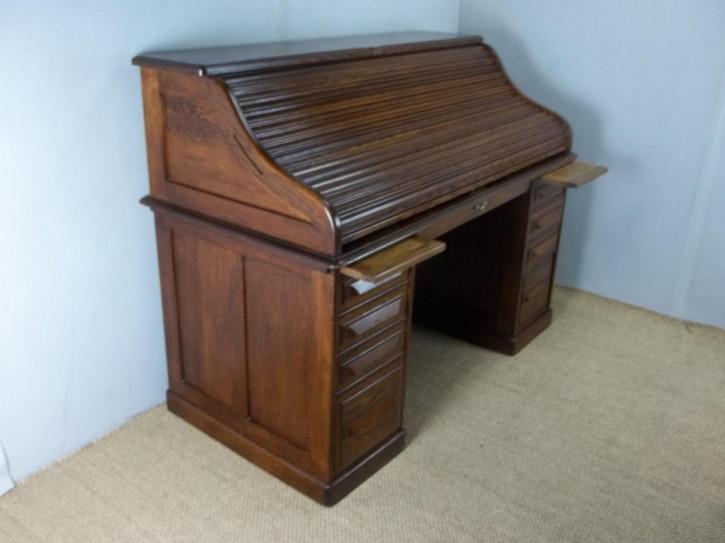 Antik großer Rolltop Schreibtisch mit signiert von Culter amerikanische Eiche ca. 1880