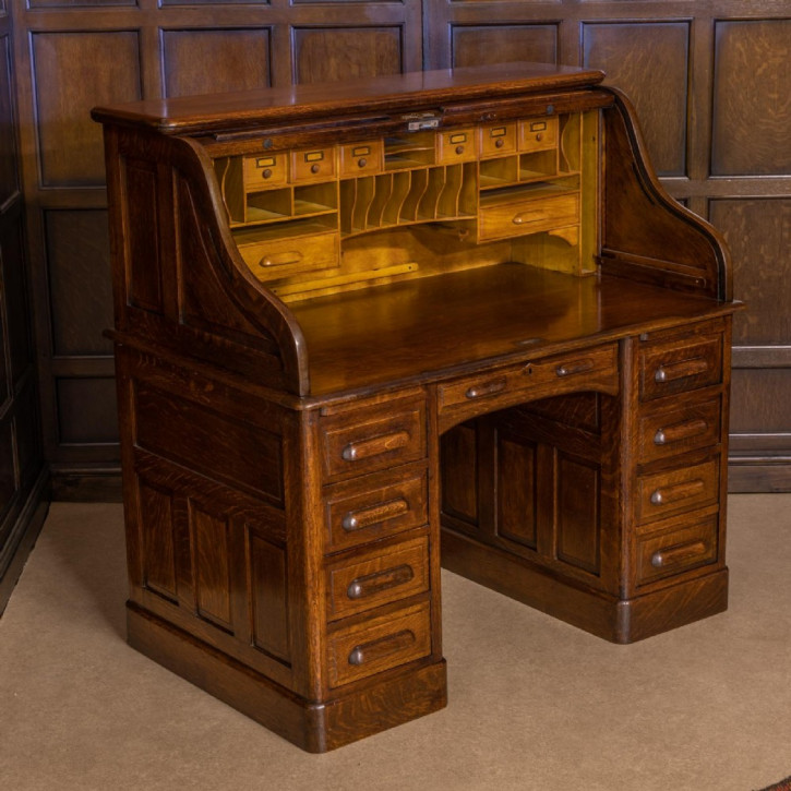 Rolltop Schreibtisch Eiche Massivholztisch ca. 1890