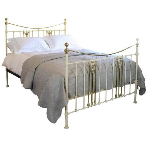 Cremefarbenes Bett mit Porzellanverzierung Bettrahmen antik ca. 1890