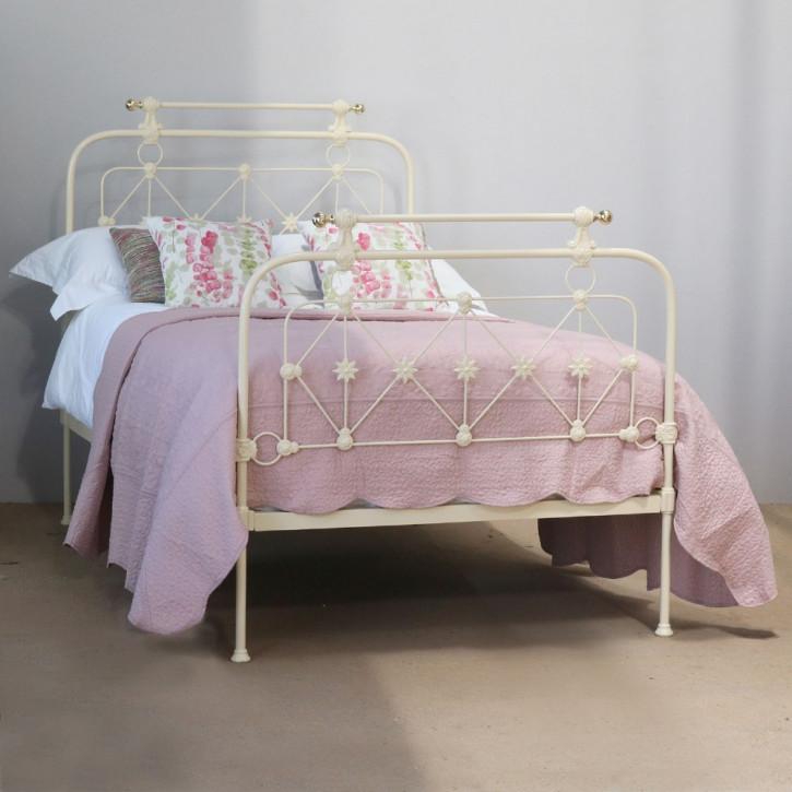 Cremefarbenes Gusseisen Bett antik ca 1880