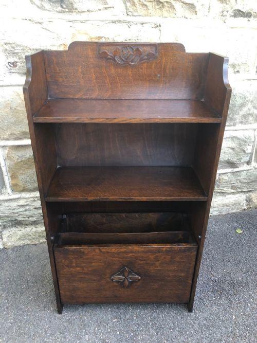 Ungewöhnlicher offener Bücherschrank aus Eiche Massivholzschrank antik ca. 1890