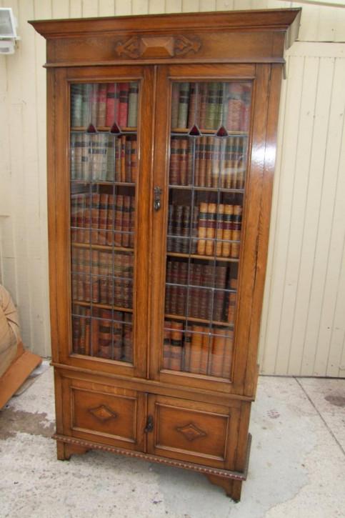 Edwardianischer Eichen Bücherschrank Massivholz antik ca 1900