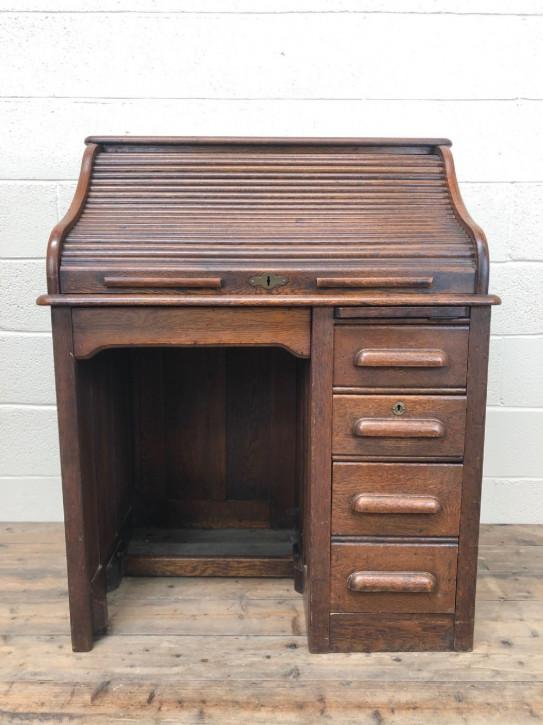 Eichen Rolltop Schreibtisch Massivholz antik ca 1920