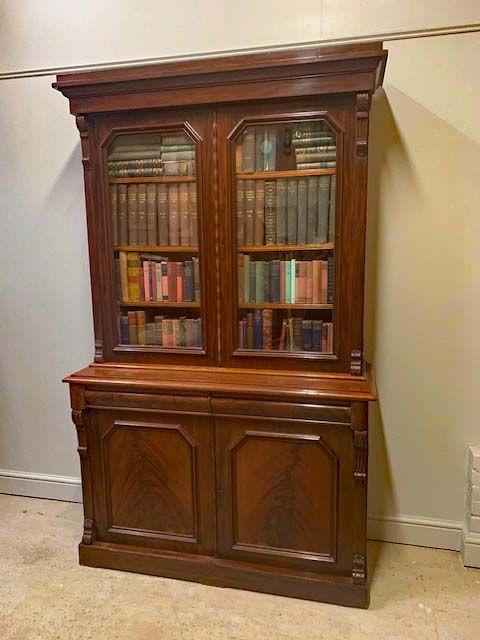 Viktorianischer Mahagoni Bücherschrank Massivholz antik ca 1870