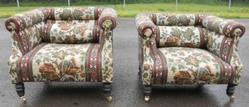 Edwardianisches Paar gepolsterte Sessel Massivholz antik ca 1890