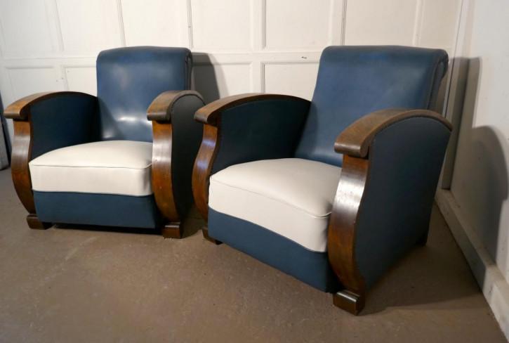 Art Deco Paar Nussbaum Clubsessel Massivholz antik ca 1920
